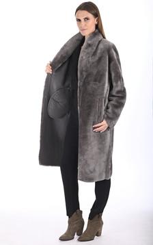 Manteau long mouton taupe