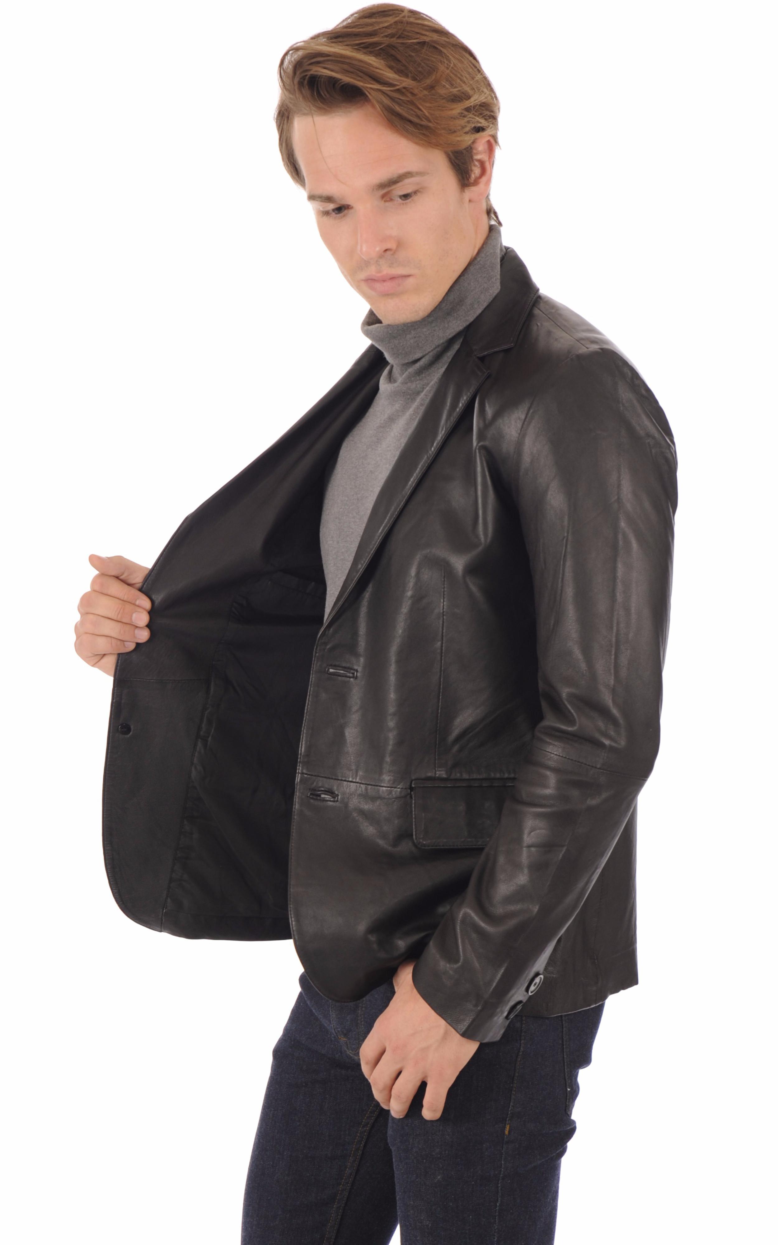 Blazer cuir noir homme La Canadienne