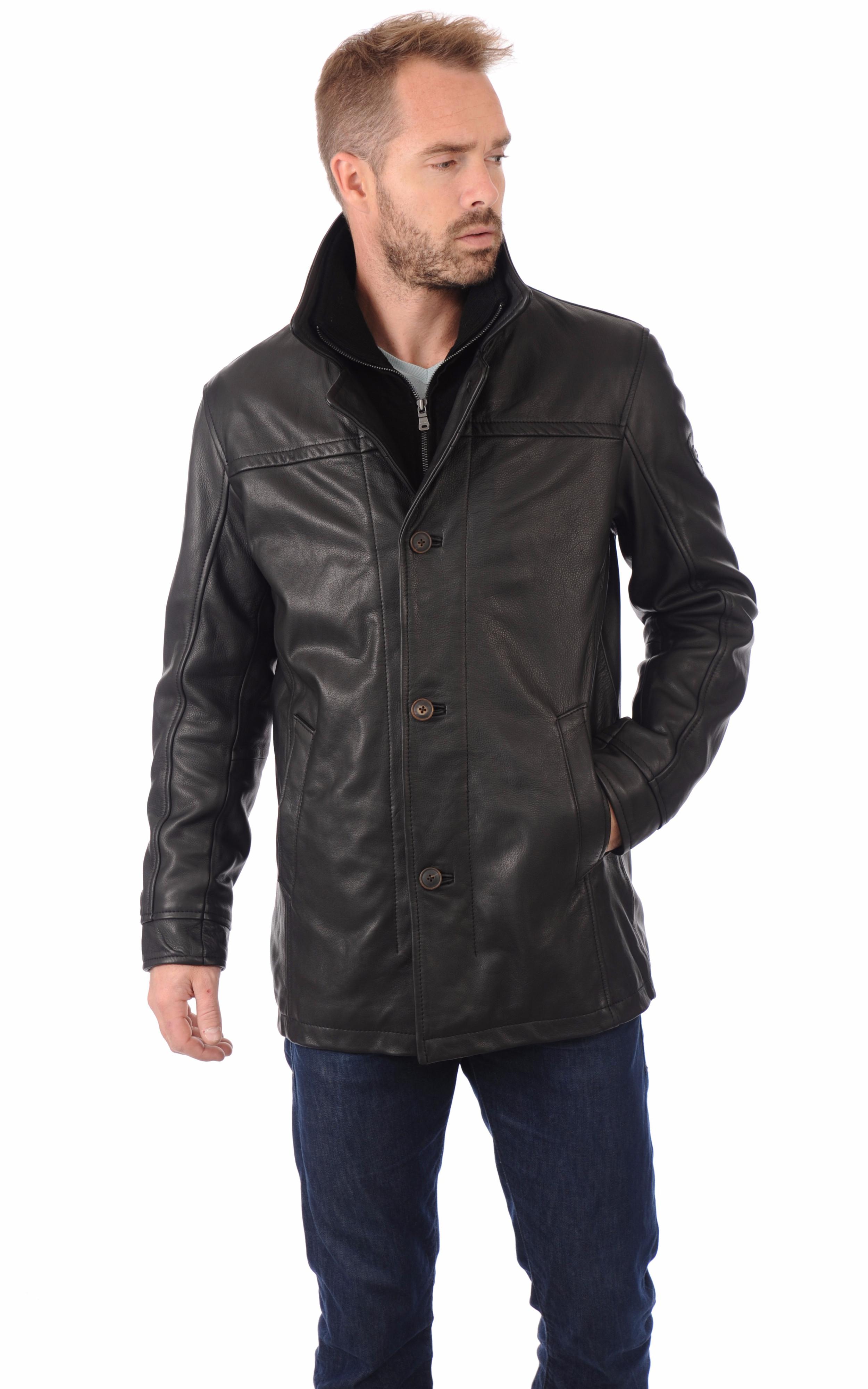 veste en cuir pour homme milestone la canadienne veste 3 4 cuir noir. Black Bedroom Furniture Sets. Home Design Ideas