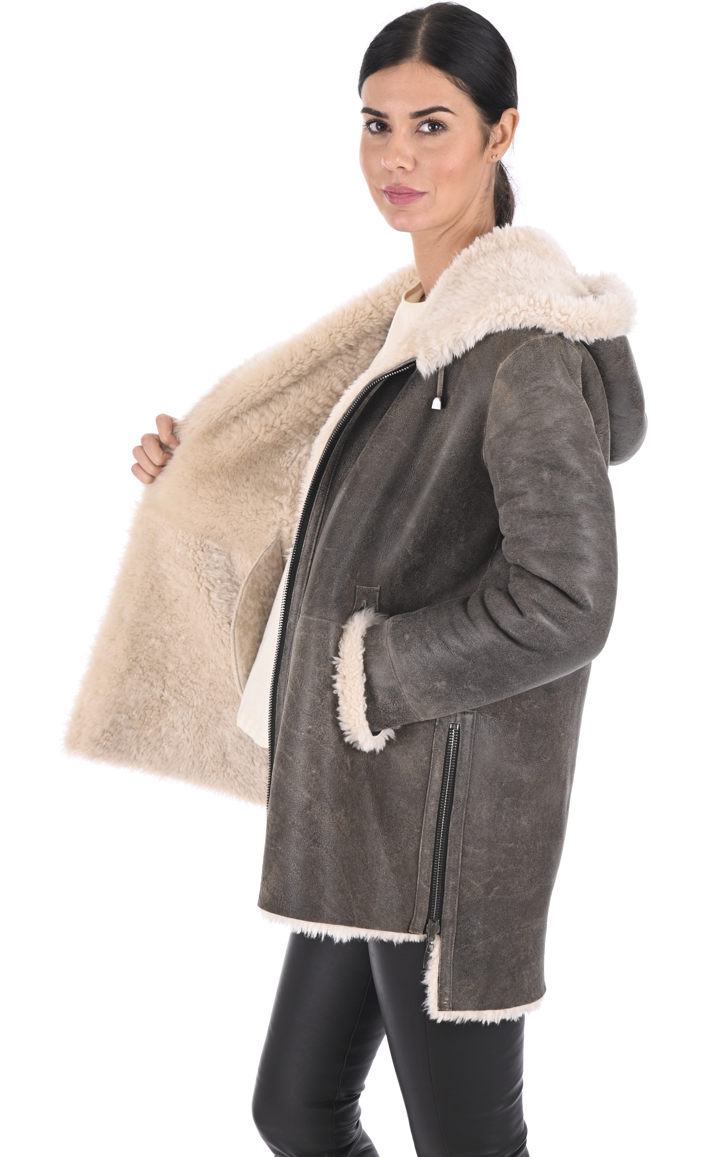 Manteau peau lainée Eden old cuir Anne Delaigle