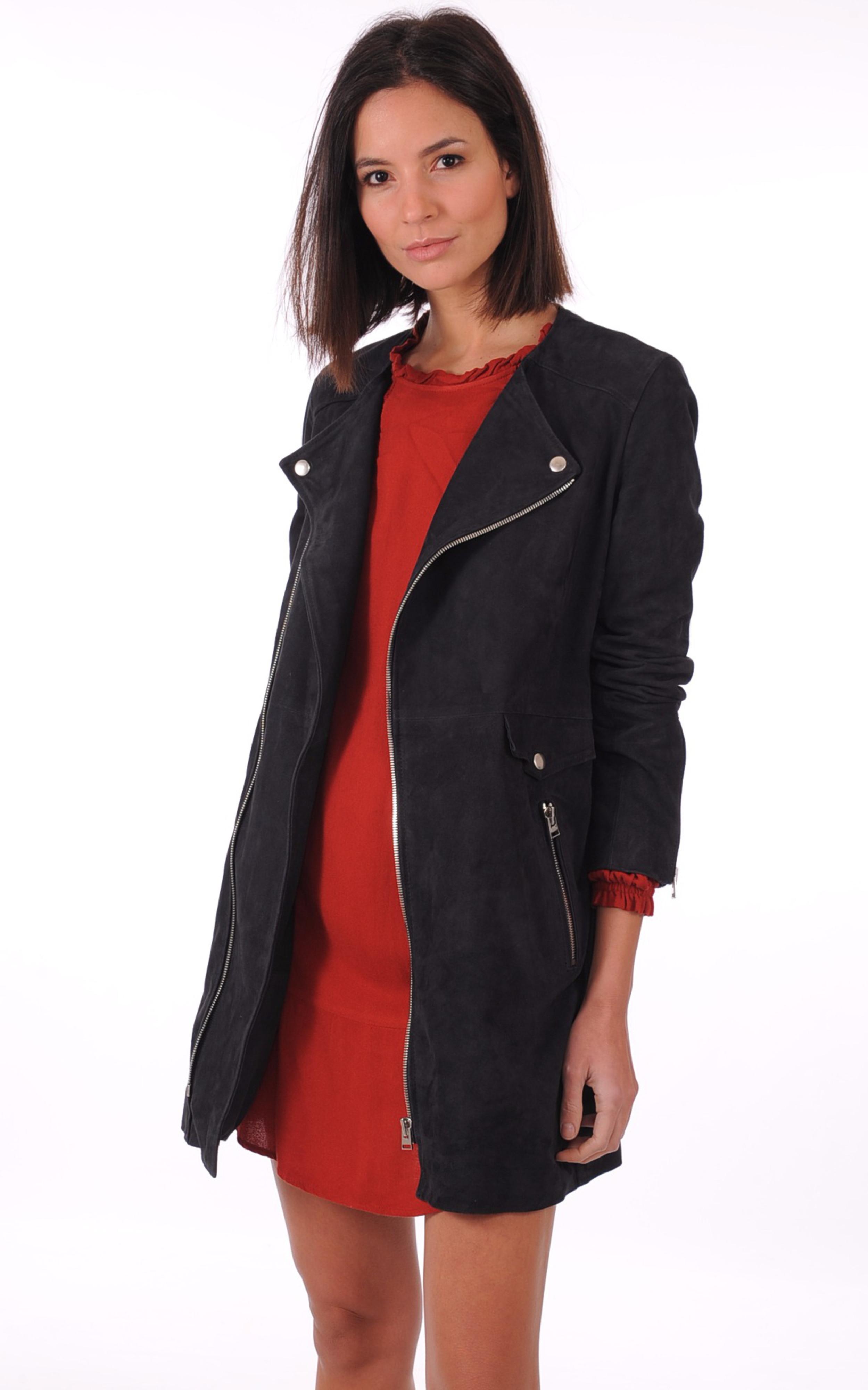 veste 3 4 femme daim femme vestes en cuir veste a manches 3 4 effet daim manteau manches 3 4 aspect. Black Bedroom Furniture Sets. Home Design Ideas