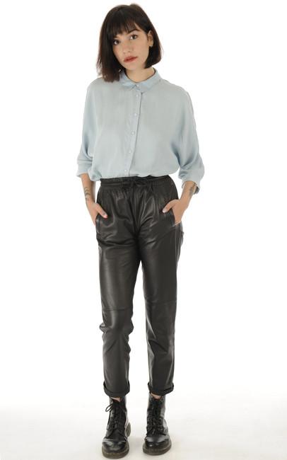Oakwood - Pantalon Jogpant Cuir Noir Oakwood