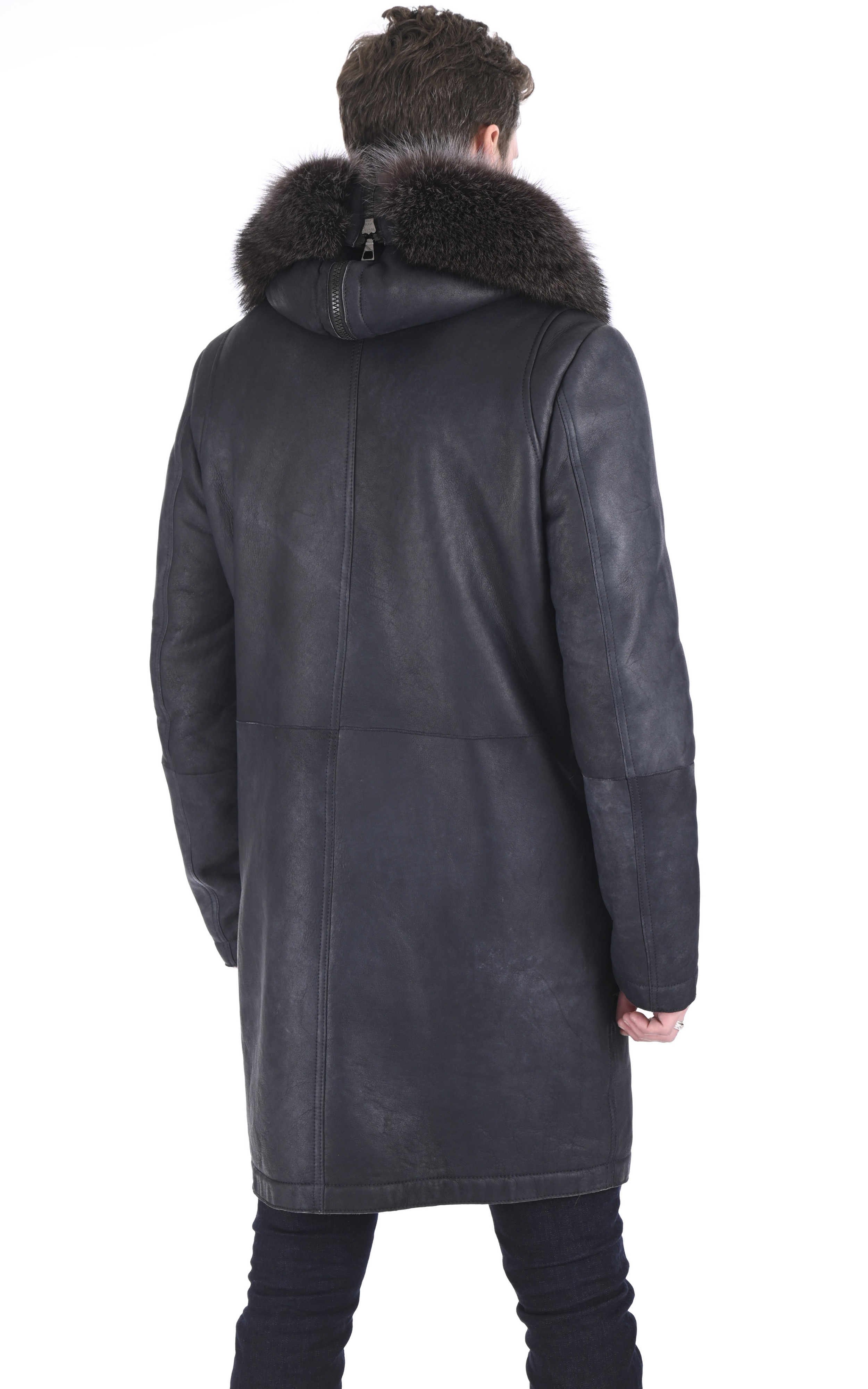 Manteau en laine d'agneau et marmotte gris Artico