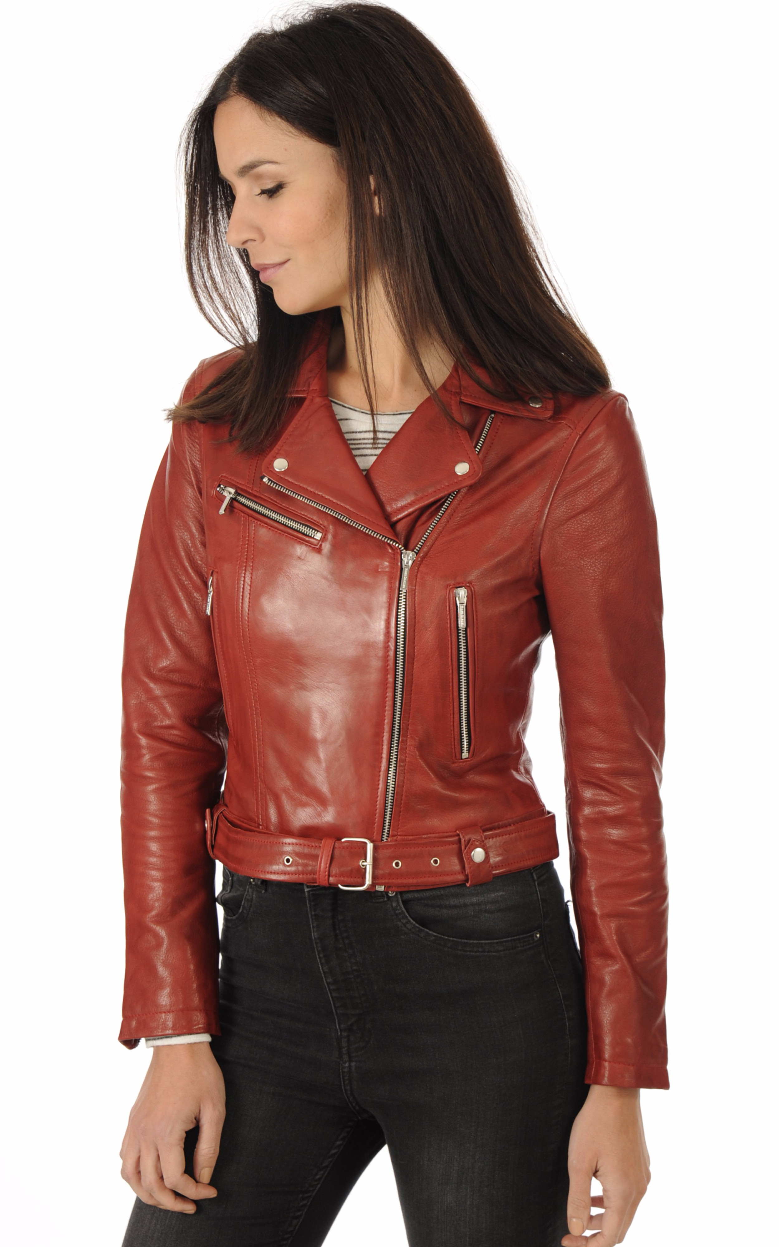 Blouson Cuir Coupe Perf Rouge Rose Garden