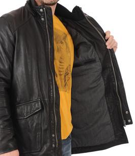 parka en cuir homme avec fourrure daytona 73 la canadienne doudoune parka cuir noir. Black Bedroom Furniture Sets. Home Design Ideas