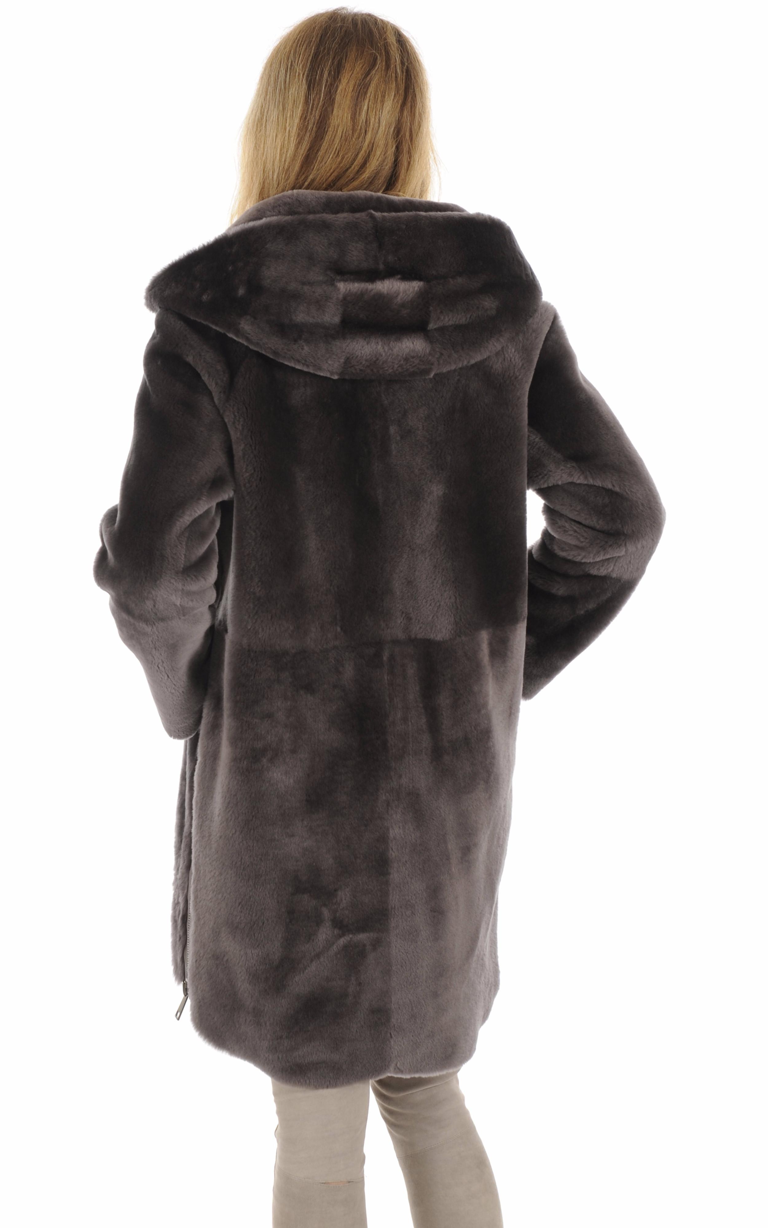 Manteau réversible mouton taupe Suprema