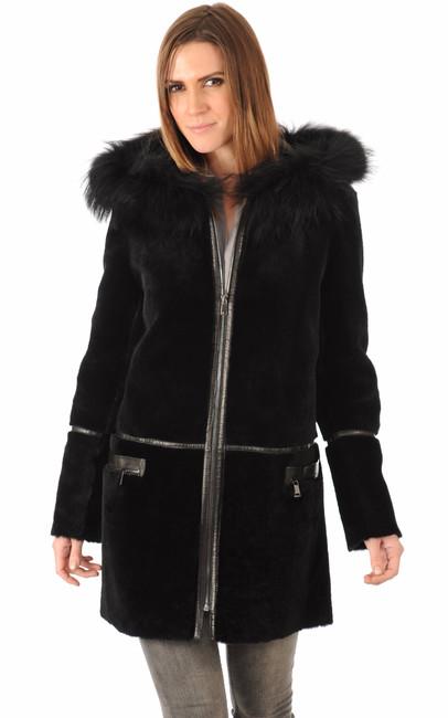 veste peau lain e ext rieure noire la canadienne la canadienne manteau 7 8 peau lain e noir. Black Bedroom Furniture Sets. Home Design Ideas