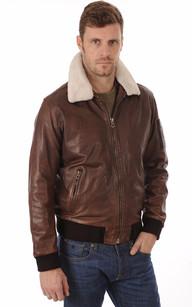 Veste cuir marron clair homme