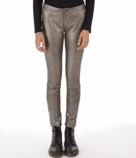 Pantalon agneau stretch gris métal Vespucci
