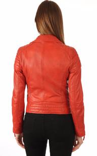Blouson Cuir Style Perf Rouge