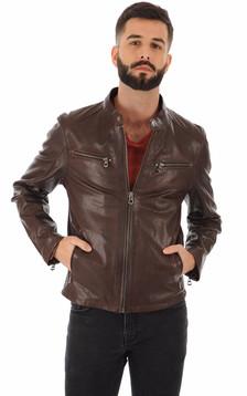Blouson Gafino en cuir marron