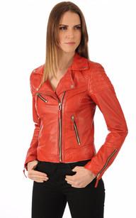 Blouson Cuir Style Perf Rouge1