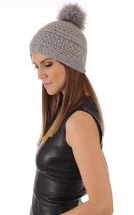 Bonnet laine et fourrure gris1