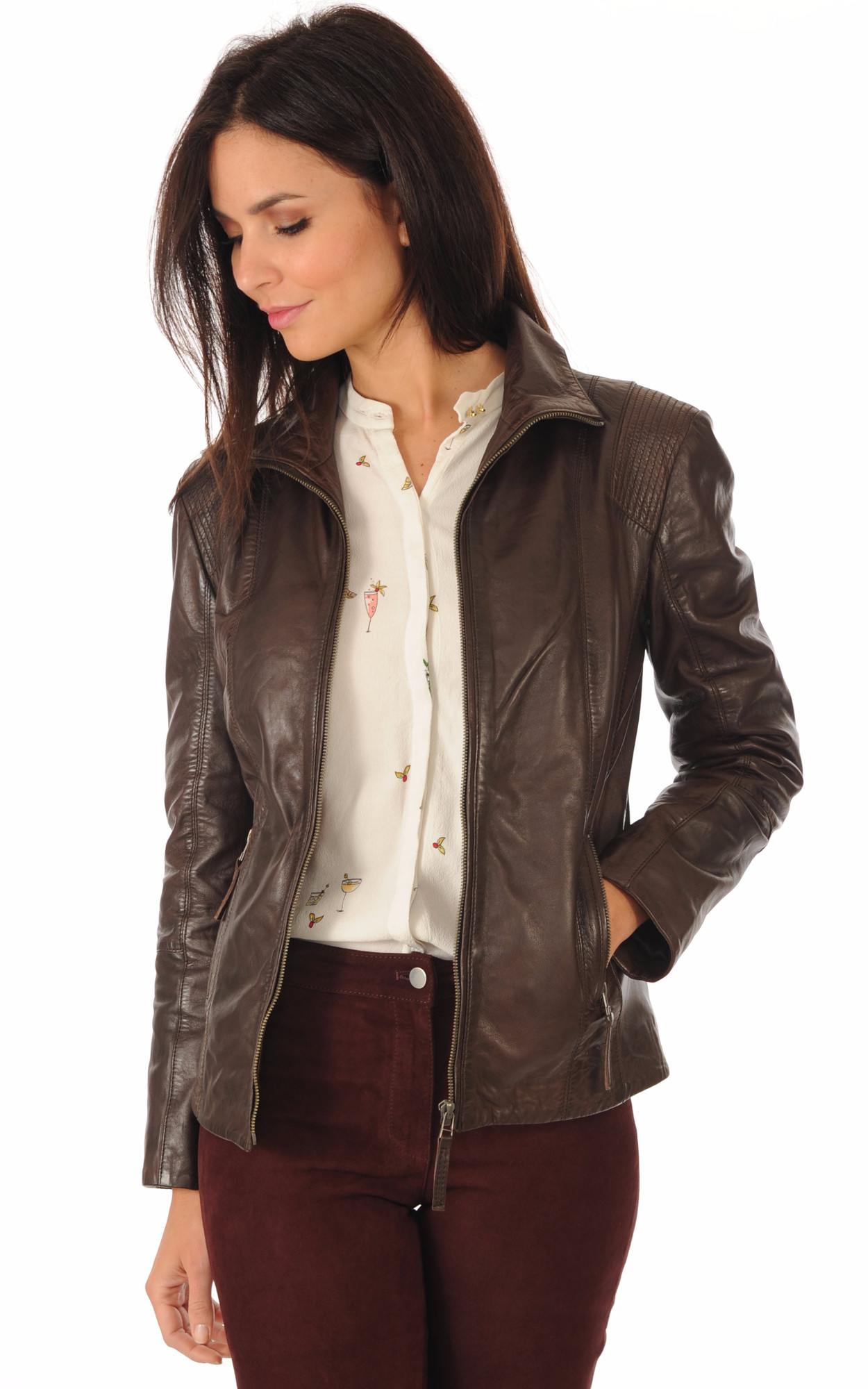 Blouson Cuir Confortable Marron