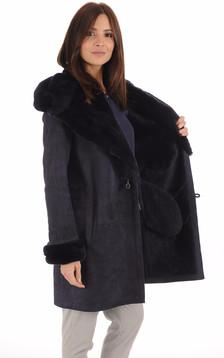 Peau lainée et Vison Bleu Femme