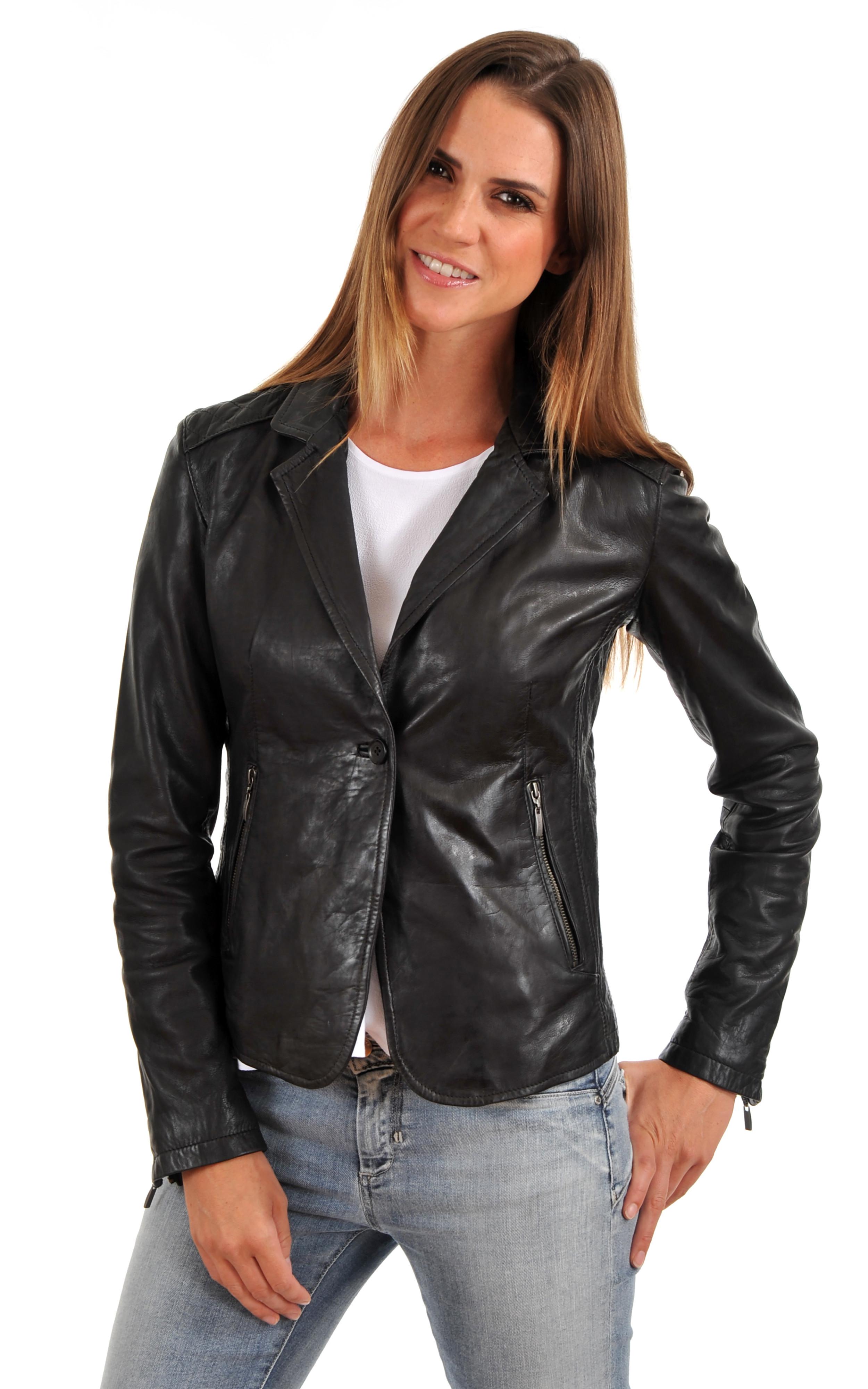 blazer naomy noir rose garden la canadienne veste 3 4 cuir noir. Black Bedroom Furniture Sets. Home Design Ideas