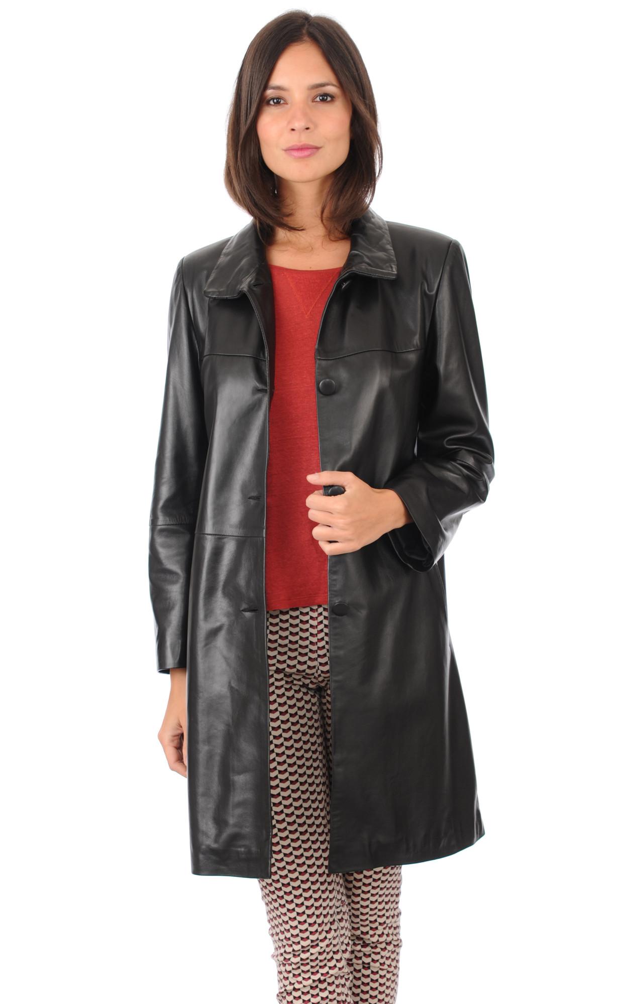 Veste longue cuir noir femme