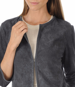 Veste Spencer Cuir Velours Bleu Suprema
