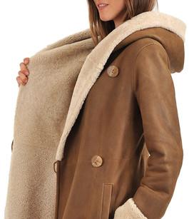 Veste peau lainee femme beige