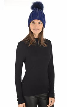 Bonnet en laine bleu