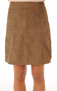 Jupe Cuir Aspect Velours Taupe1