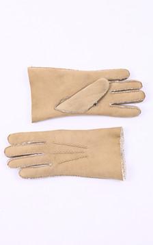 Gants peau lainée sable