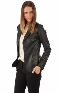 Blazer Cuir Agneau Noir Femme