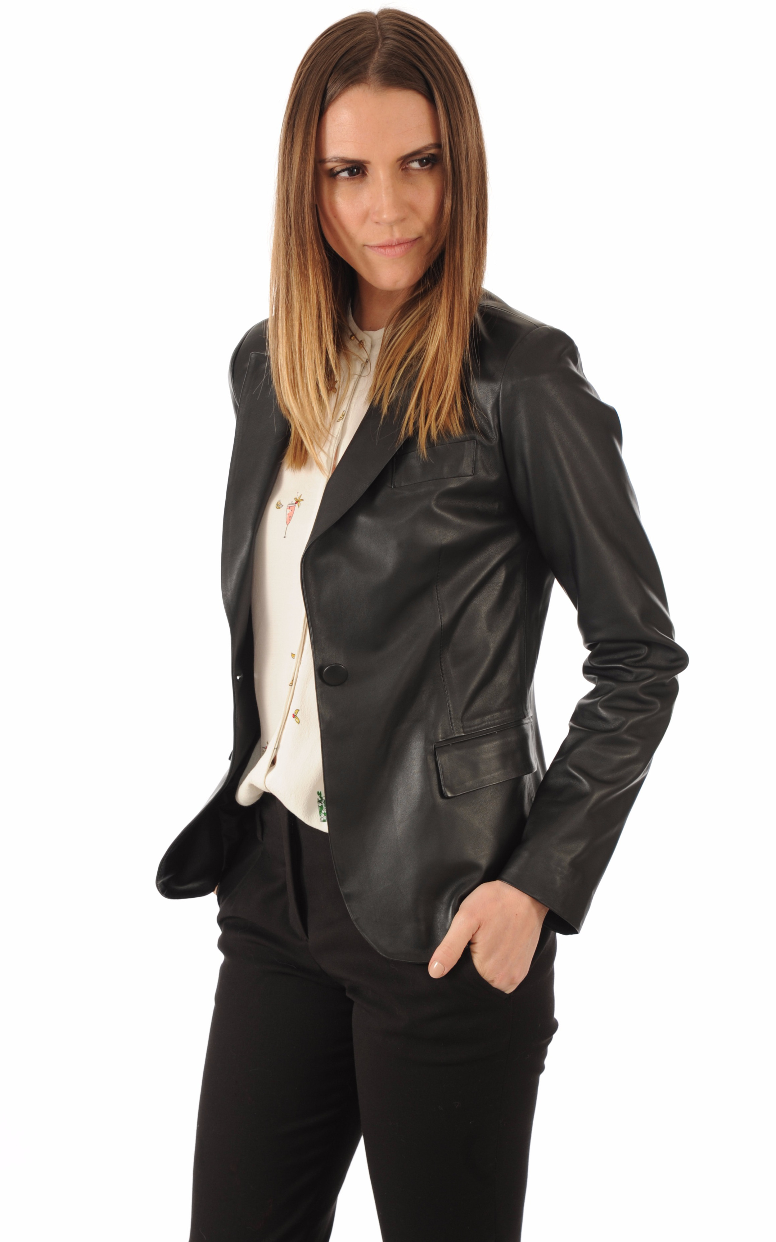 Blazer Cuir Agneau Noir Femme La Canadienne