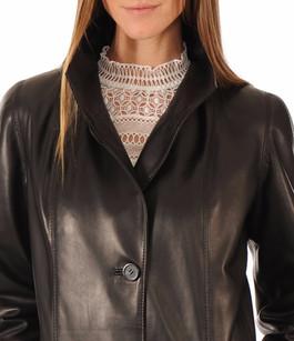 Manteau Long Cuir Femme Noir La Canadienne