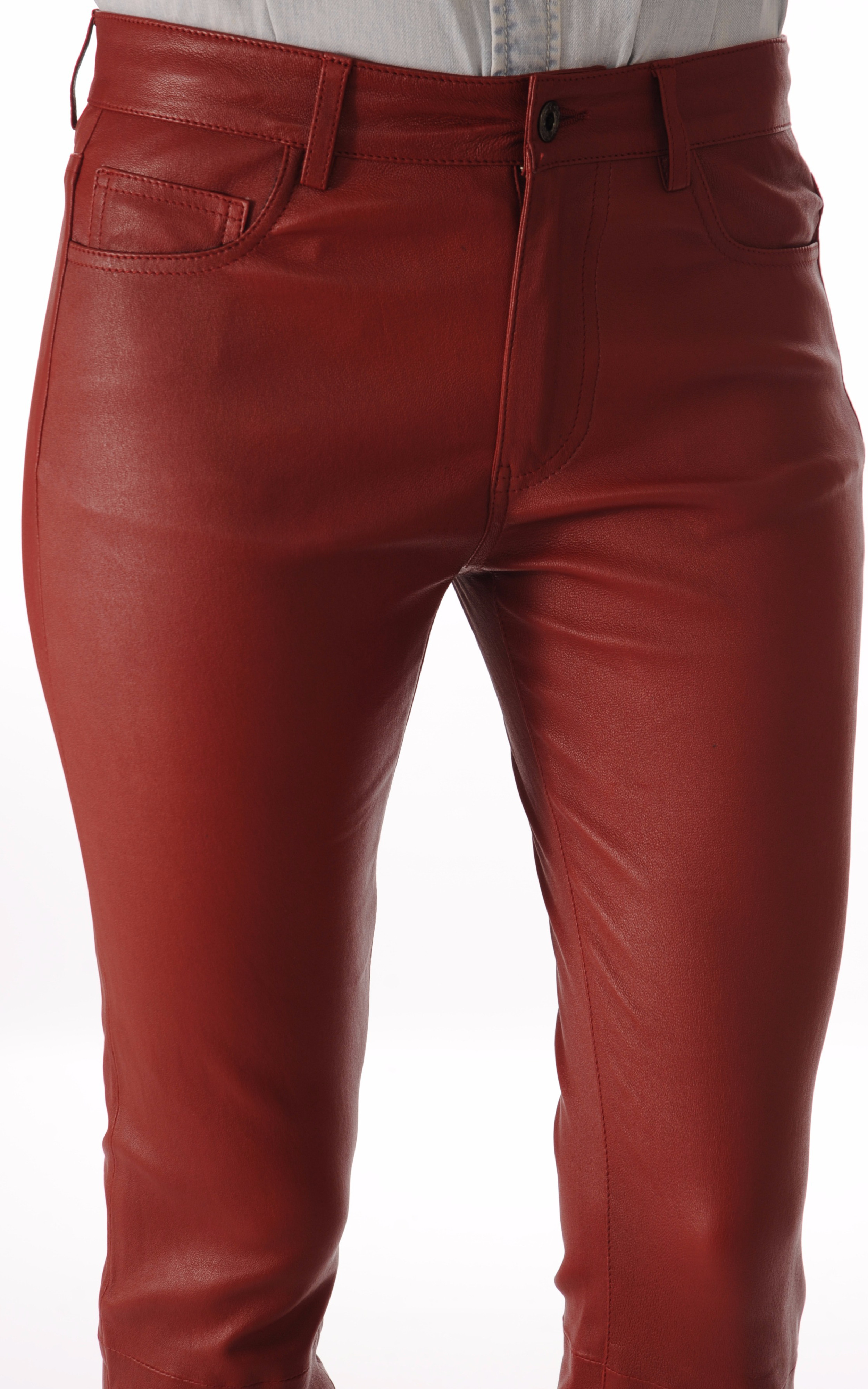 Pantalon Cuir Stretch Bordeaux JS Vassal