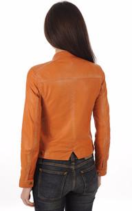 Blouson Cuir Souple Orange Femme