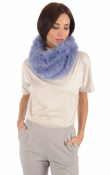 Snood Fourrure Renard Bleu