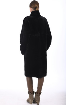 Manteau long mouton noir