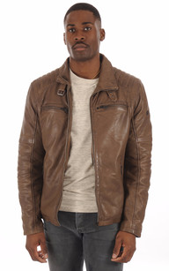 Blouson Cuir Chaud Taupe Homme1