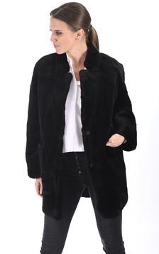 Veste peau lainée noire