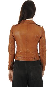 Blouson en cuir cognac femme