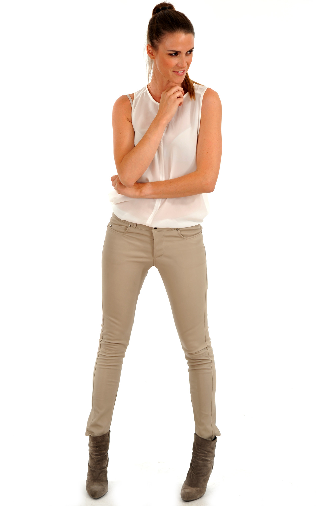 Pantalon Slim Cuir Stretch Beige