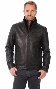 Blouson Cuir Coupe Confortable Noir