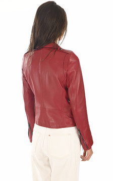 Blouson en cuir rouge femme
