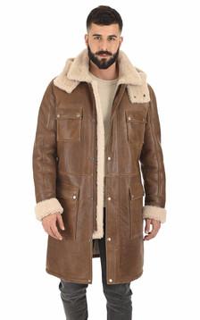 Manteau agneau vieilli marron