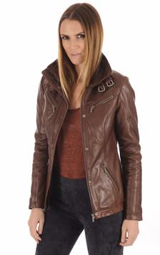 Veste cuir marron clair1
