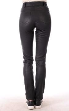 Pantalon Cuir Strecht Noir Coupe Droite