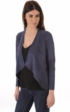 Veste Ouverte Cuir Velours Bleu1