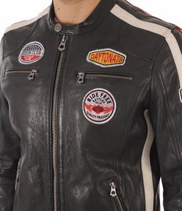 Blouson Cuir Gris Style Motard Daytona 73