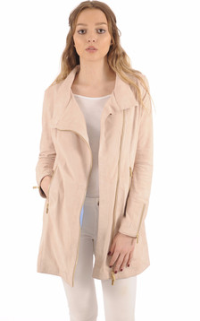 Veste Cuir Velours Rose Poudré