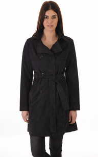 Trench Cuir Velours Marine Femme1
