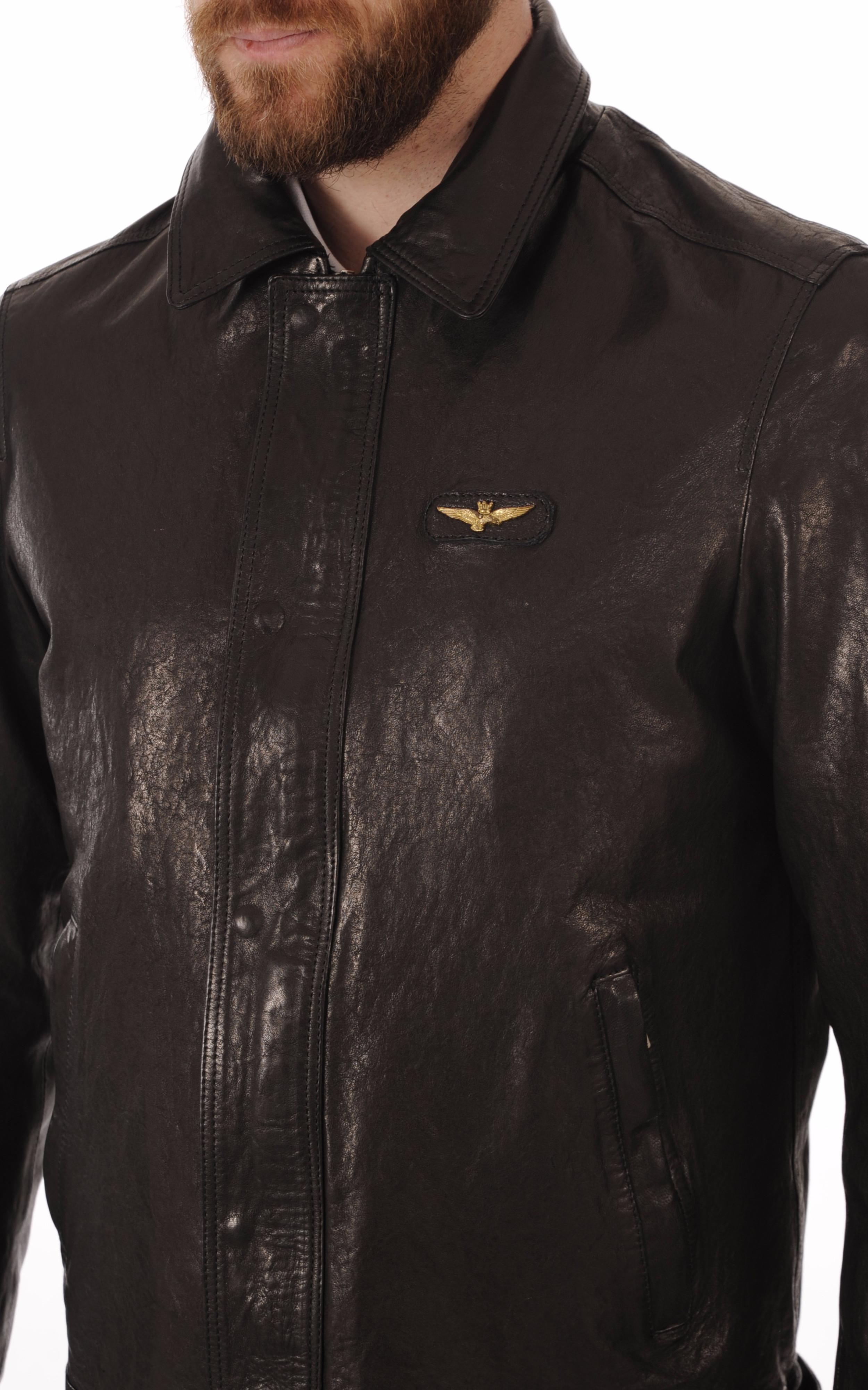 Blouson Cuir Noir Finition Végétale Aeronautica Militare