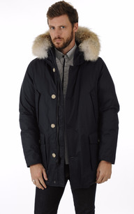 Parka Laminated Cotton Bleu Marine
