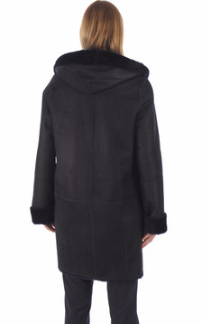 Manteau peau lainée mouton bleu nuit