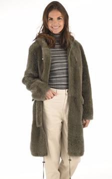 Manteau peau lainée réversible kaki